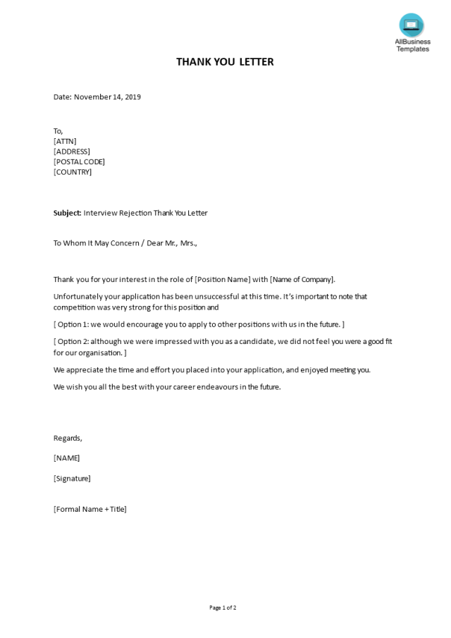 Kostenloses Rejection Letter Interview Job Candidate