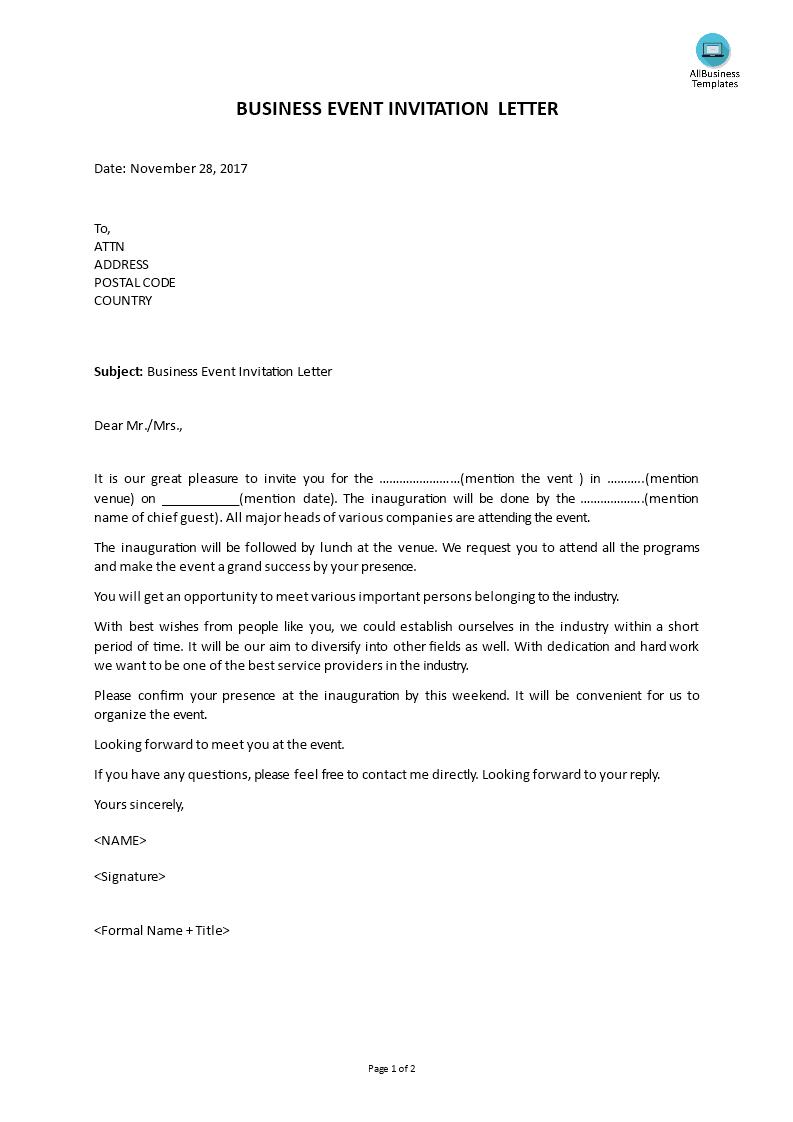 business event invitation letter