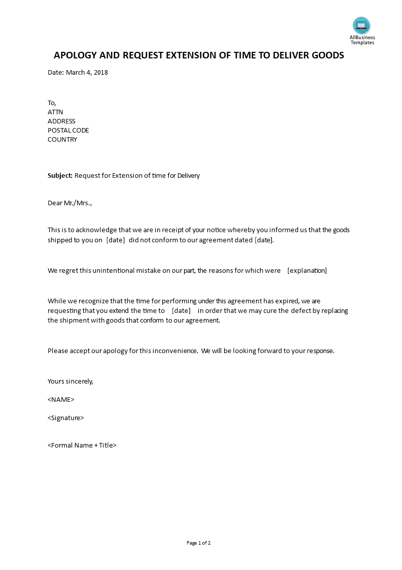 Apology request letter extension time to deliver   Templates at allbusinesstemplates.com