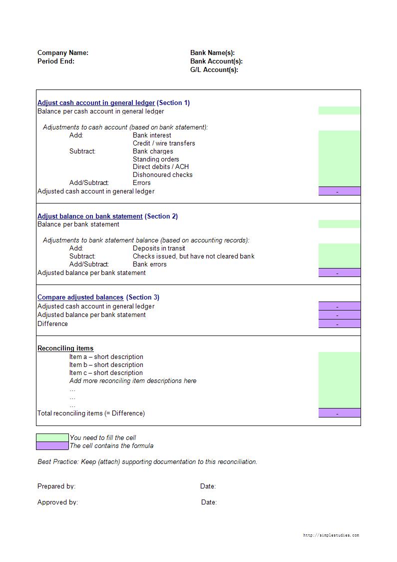 Bank Reconciliation Template worksheet excel | Templates at allbusinesstemplates.com