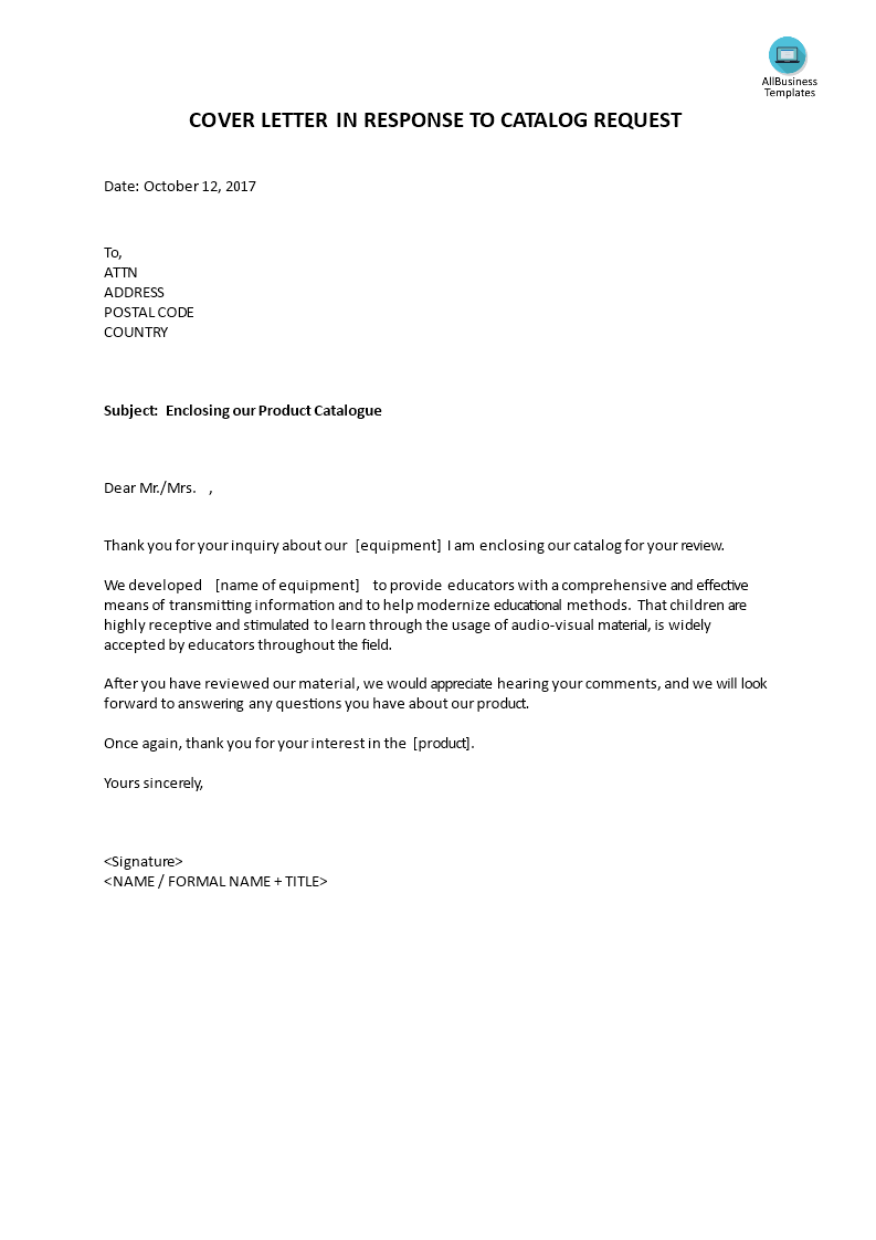 Cover Letter In Response To Catalog Request Templates At