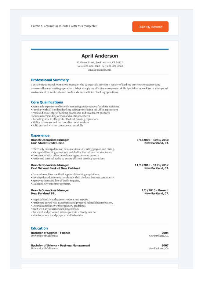 Banking Operations Manager Resume