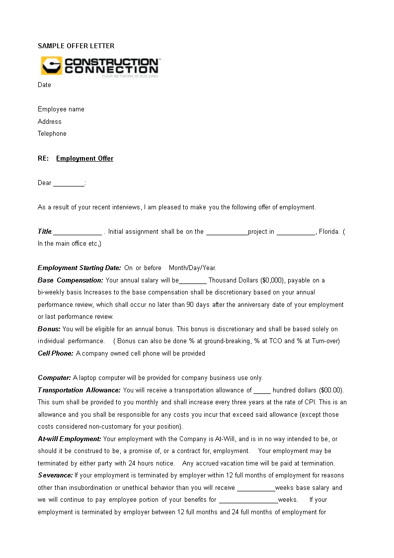 company offer letter format