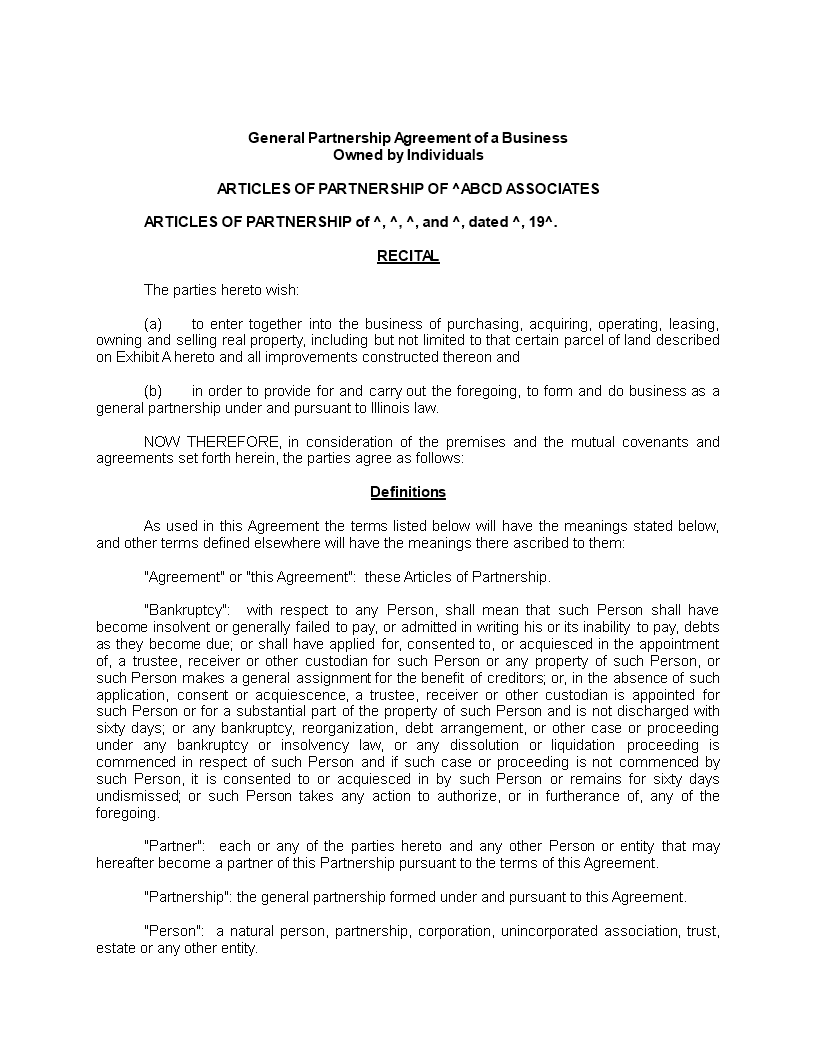Simple General Partnership Agreement Main Image
