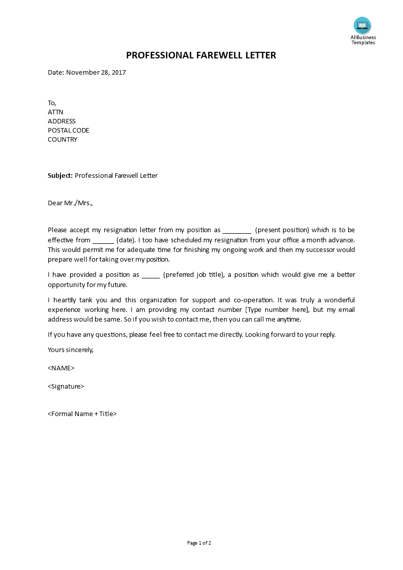 Professional Farewell Letters   Templates at allbusinesstemplates.com