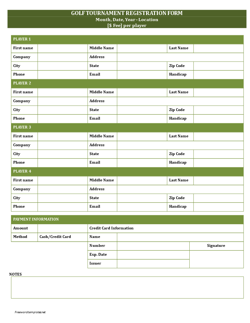 Golf Registration Form | Templates at allbusinesstemplates.com