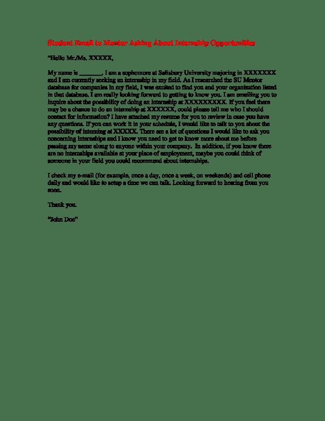 Internship Student Email Letter  Templates at allbusinesstemplates