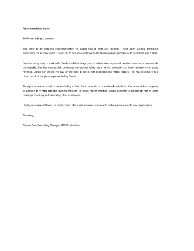 Kostenloses Sample Letter Of Recommendation For Employee
