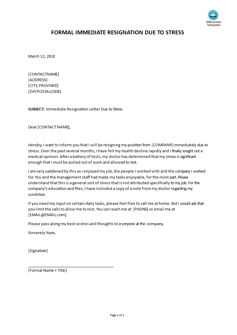 Immediate Resignation Letter Due To Stress By Employee