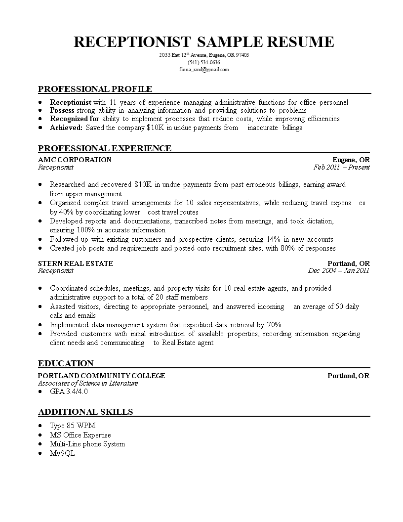 Cover Letter Sample For Hotel Receptionist Meaning