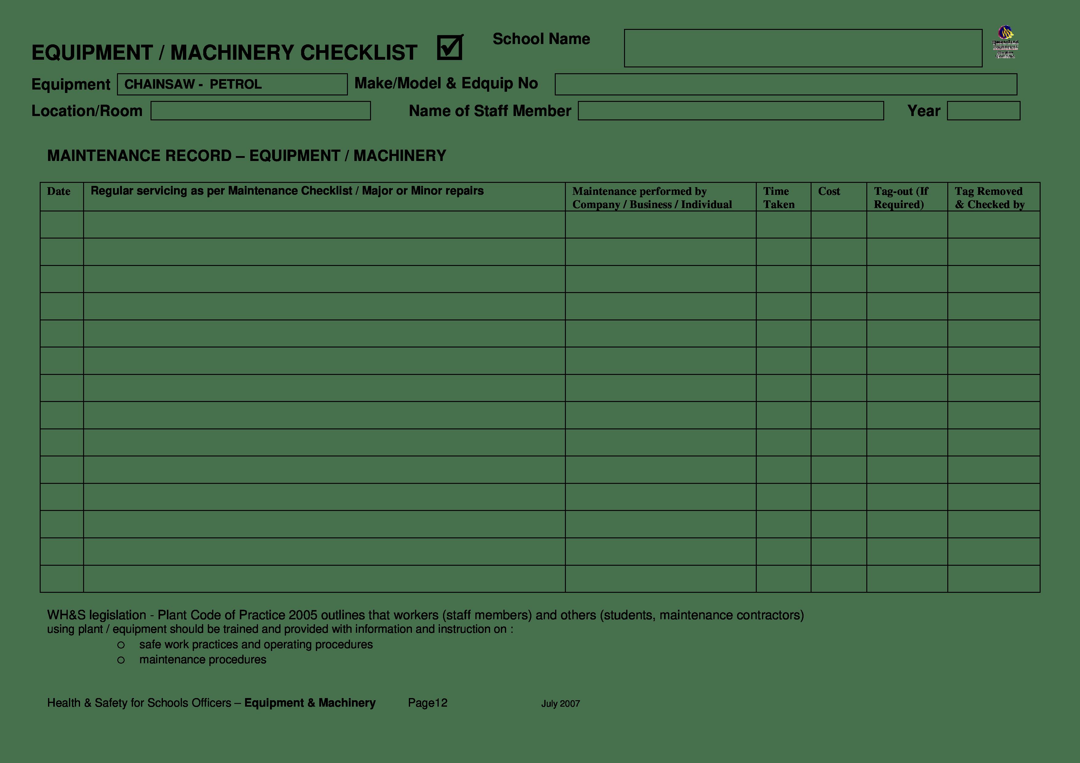 Weekly Equipment Checklist