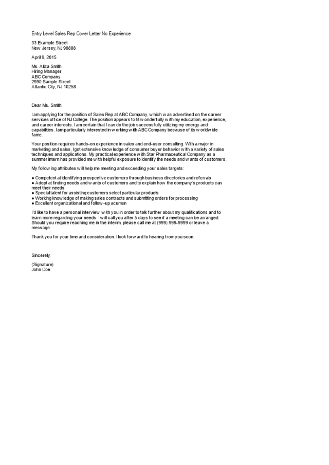 Entry Level Sales Rep Cover Letter No Experience  Templates at