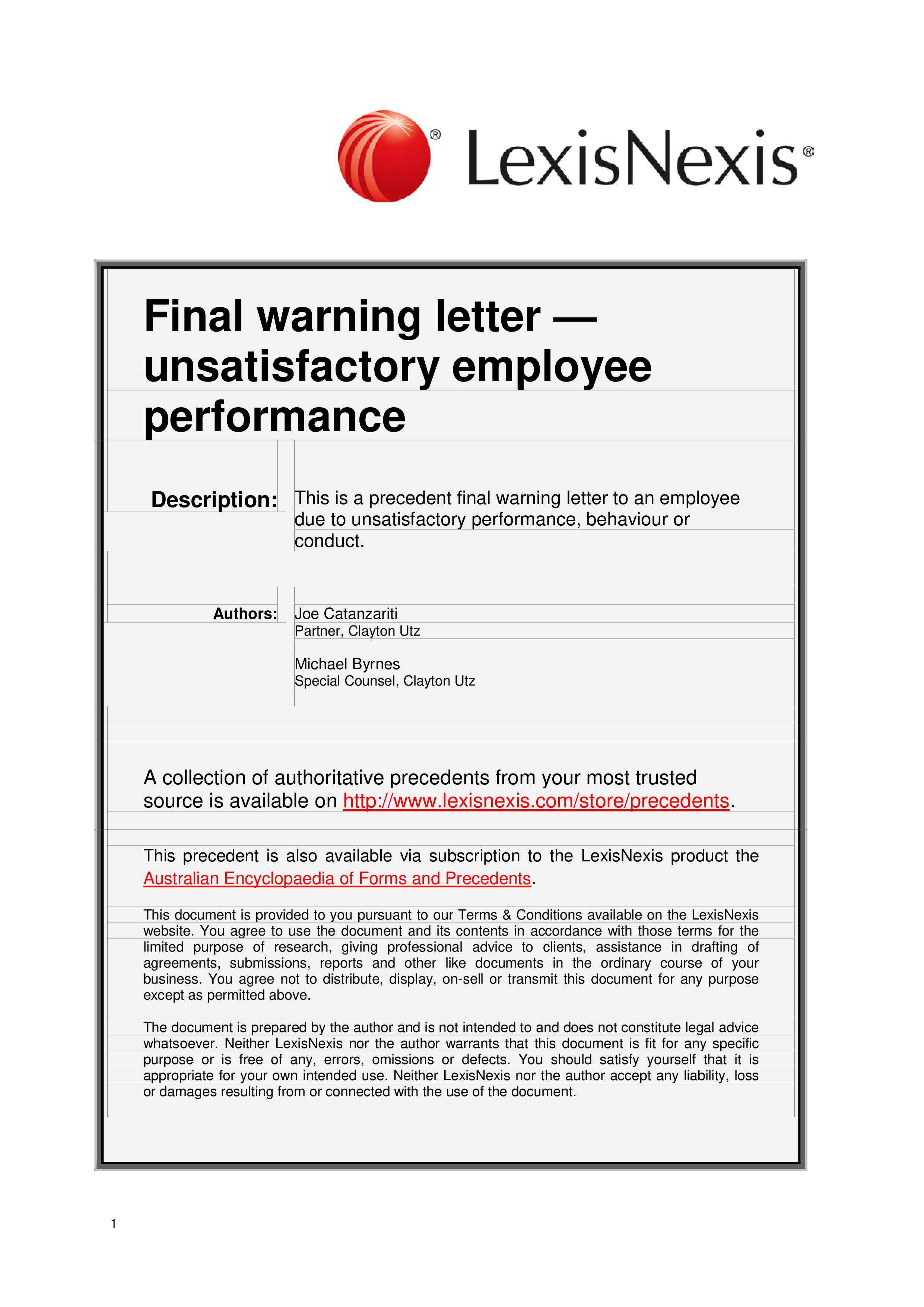 Free Final Warning Letter To Employee Poor Performance
