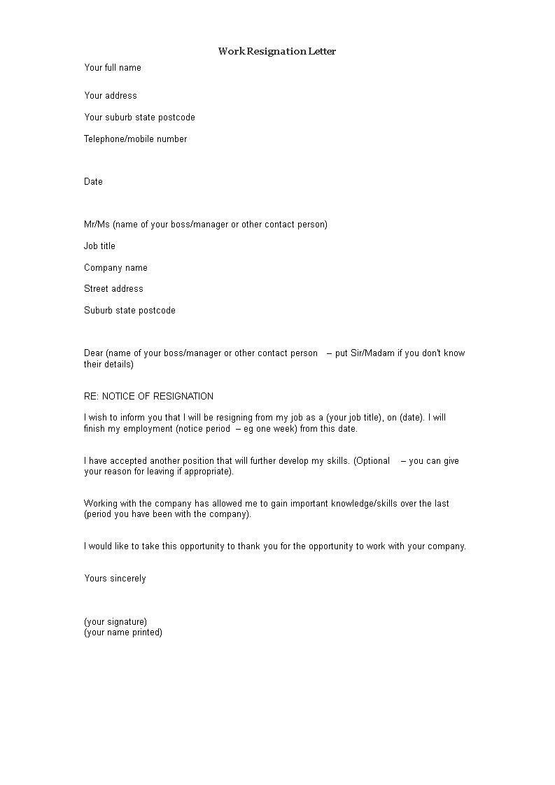 Formal Notice of Resignation sample | Templates at allbusinesstemplates.com