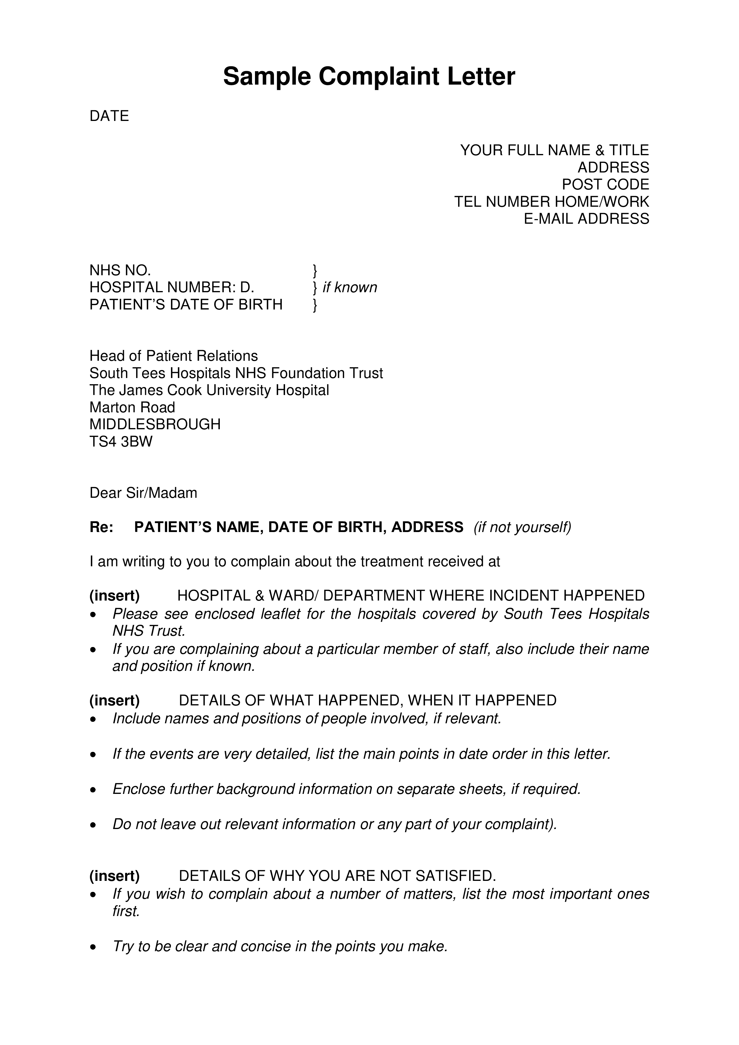 Free Hospital Patient Complaint Letter  Templates at