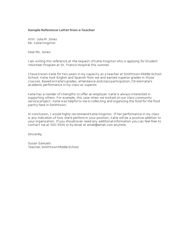 Kostenloses Reference Letter from Teacher