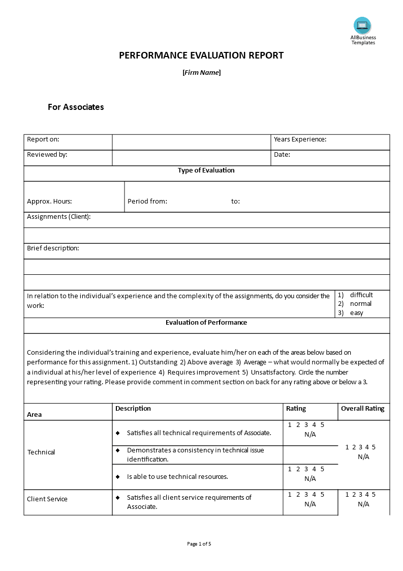 Hr Performance Evaluation Report Associate Main Image