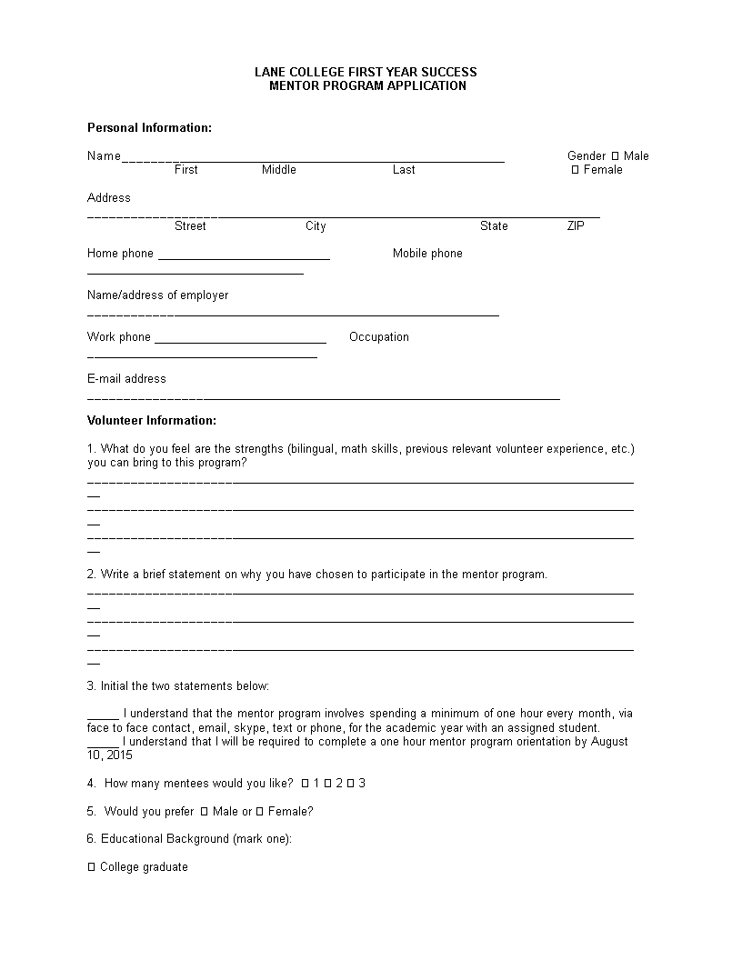 Mentor Program Application Letter | Templates at allbusinesstemplates.com
