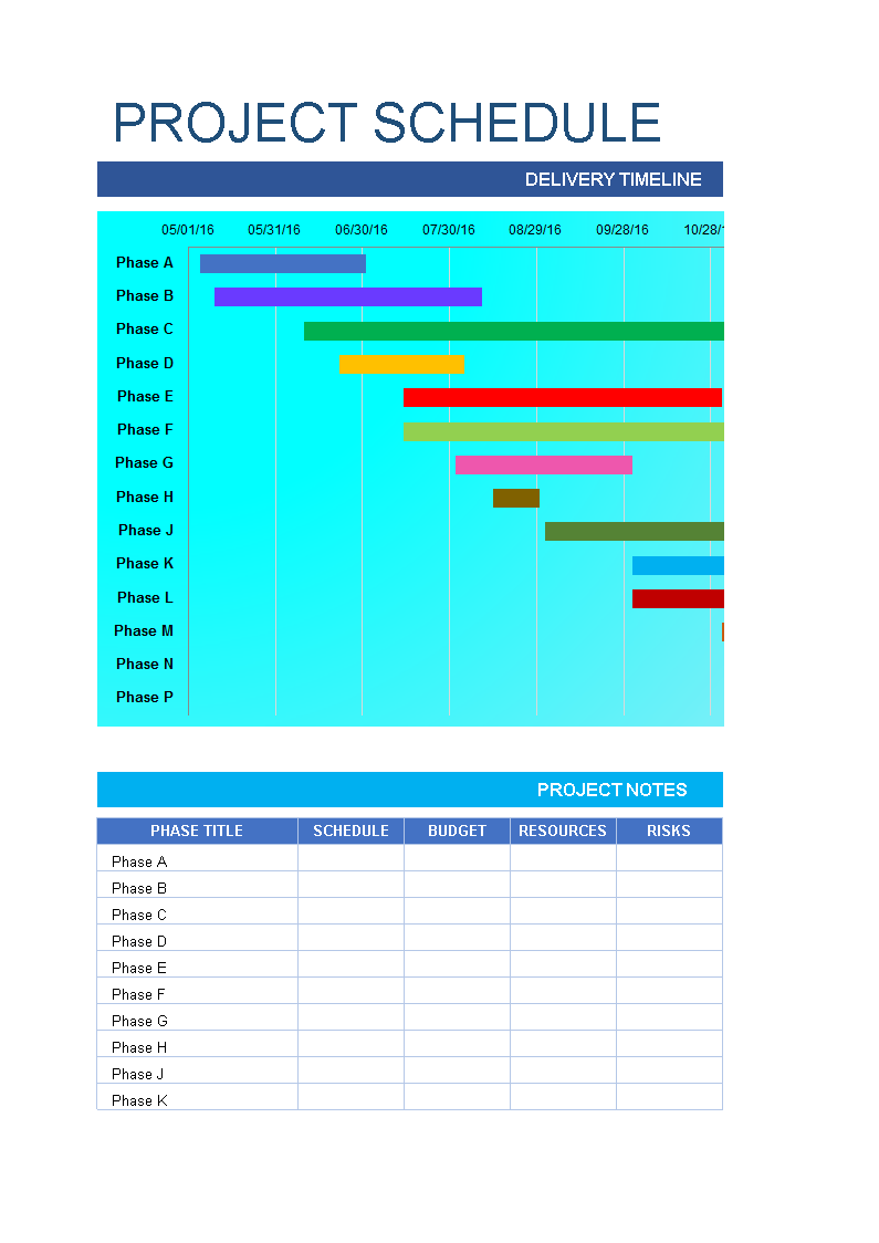 Project Schedule Excel Spreadsheet template | Templates at allbusinesstemplates.com