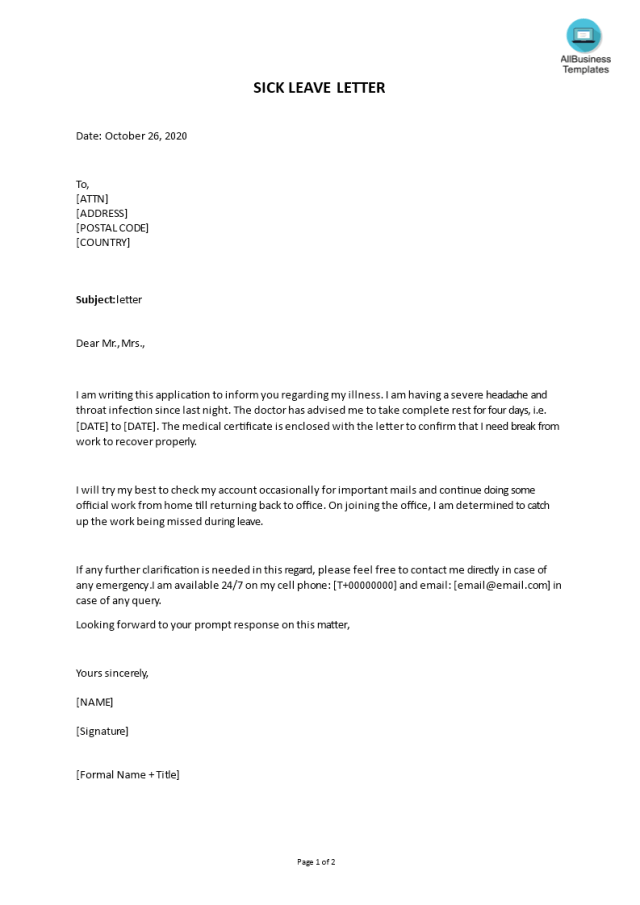Kostenloses Continuous Sick Leave Letter