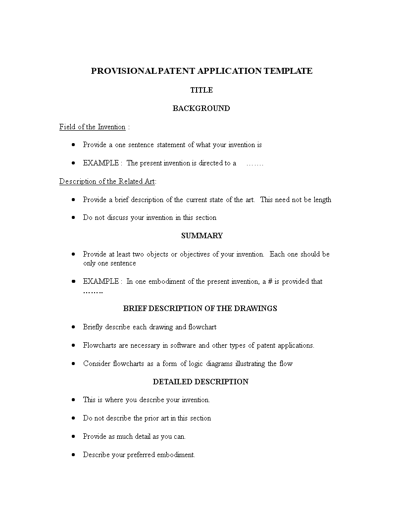 Provisional Patent Application Template | Templates at allbusinesstemplates.com