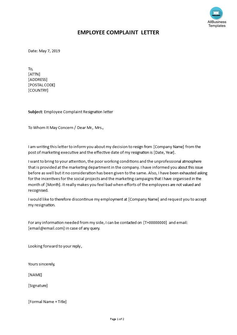 Marketing Executive Resignation Complaint Letter | Templates at allbusinesstemplates.com