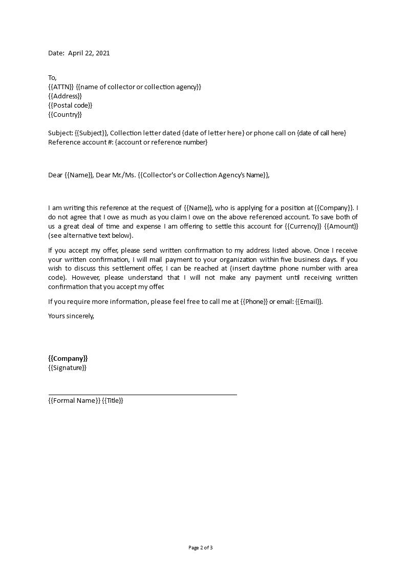 Debt Settlement Letter | Templates at allbusinesstemplates.com