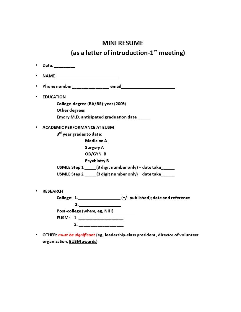 Mini Resume Sample Templates At