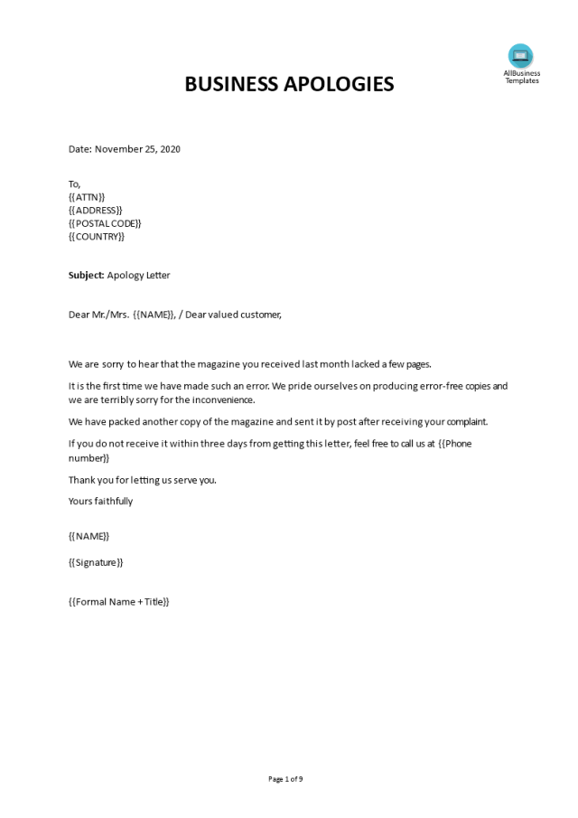Kostenloses Business Apology Letter Mistake
