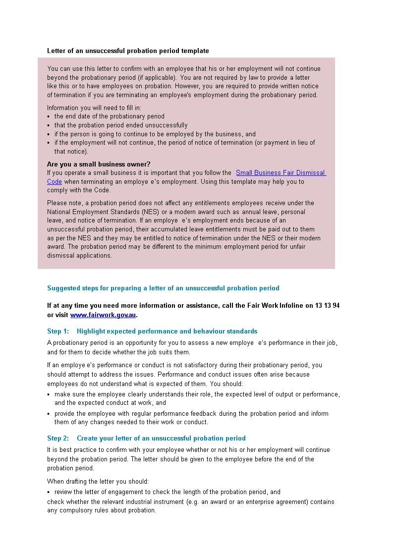 Probation Employee Termination Letter Main Image