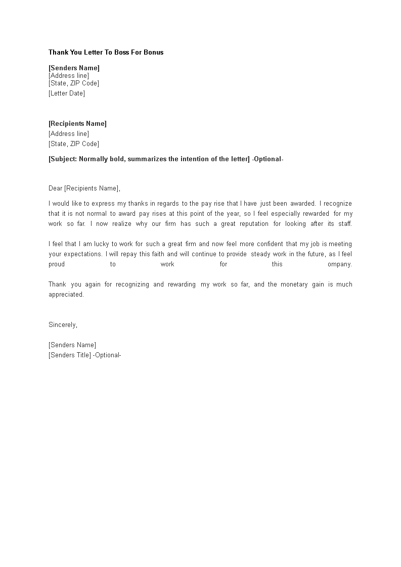 Sample of thank you letter to boss for bonus lvelegant thank you letter to boss for bonus templates at expocarfo