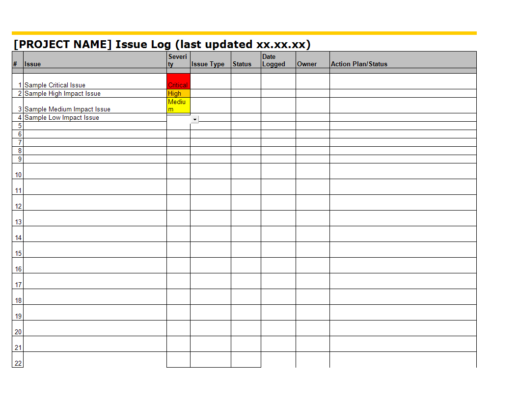 University Issue And Risk Tracking In Excel Format