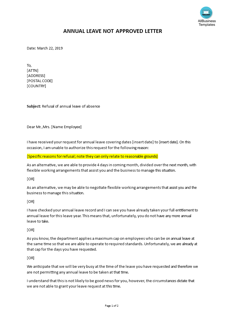 Annual Leave request refusal letter | Templates at allbusinesstemplates.com