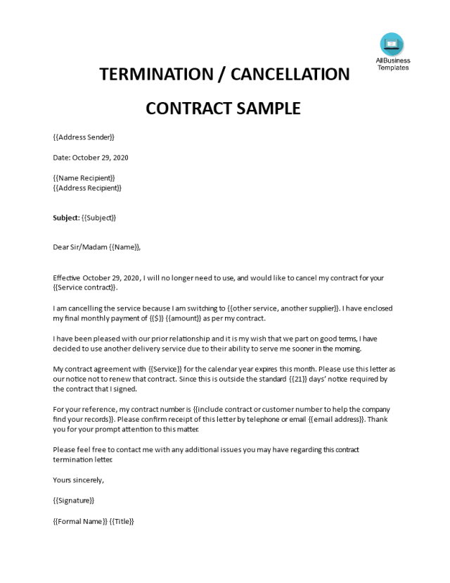 Kostenloses Letter of Termination of Contract