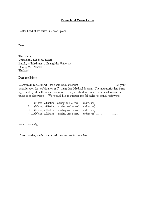 Simple Medical Journal Cover Letter Word  Templates at