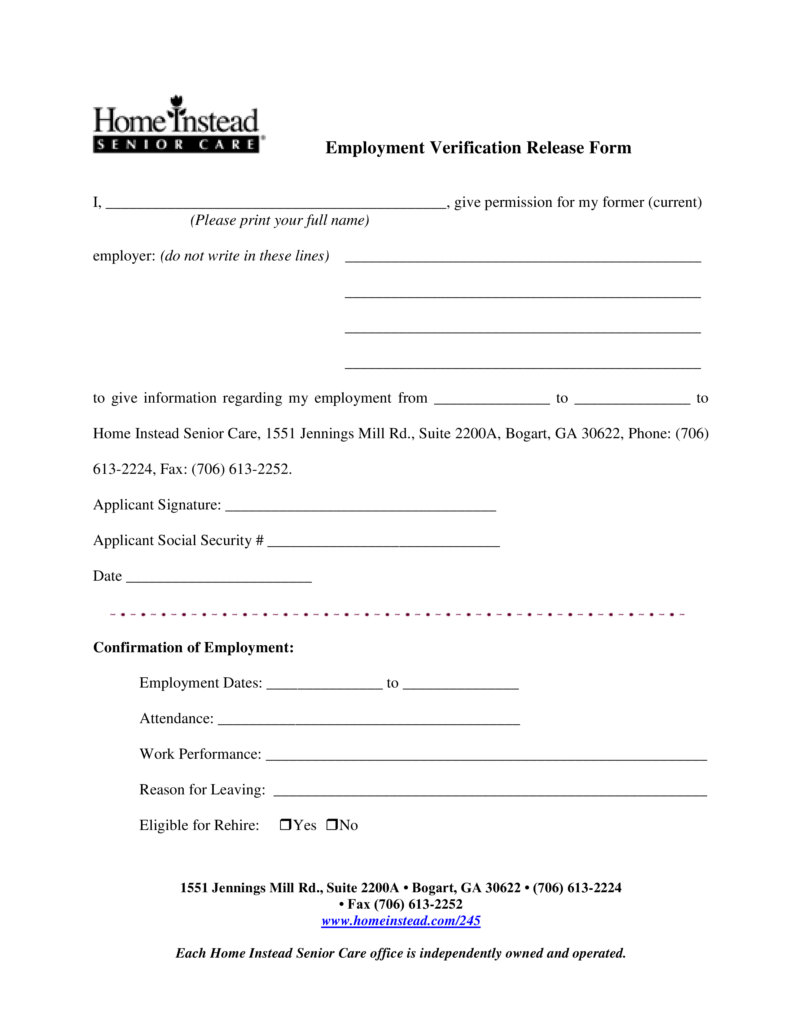 Employment Verification Release Form Templates At