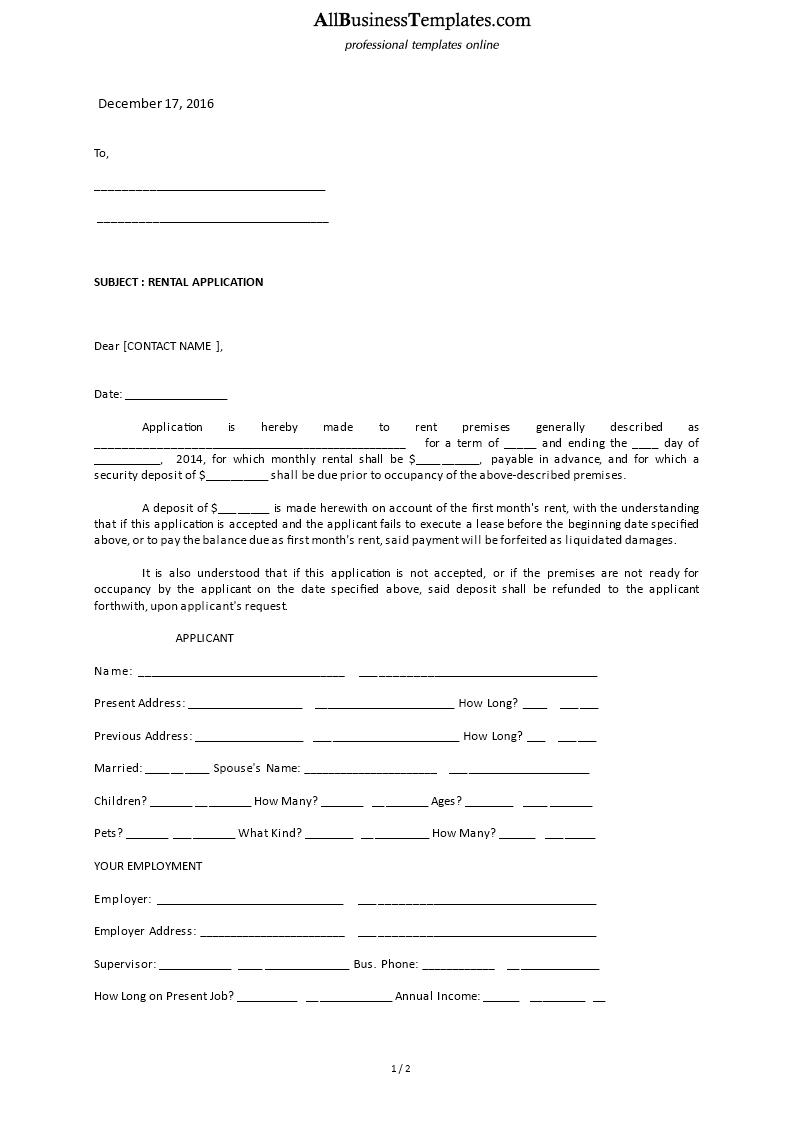 Rental Application Letter Sample Main Image