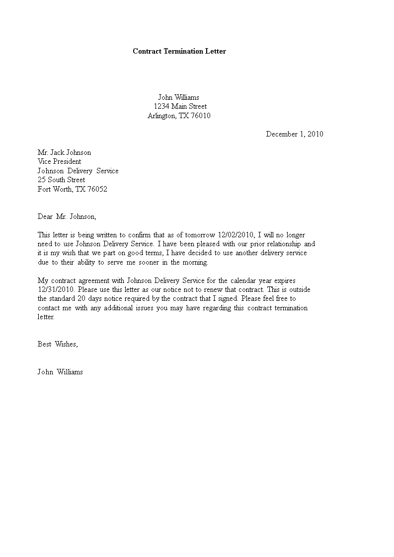 Example Service Contract Termination Letter Main Image
