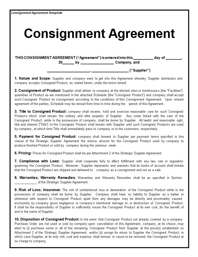 Consignment Agreement | Templates at allbusinesstemplates.com