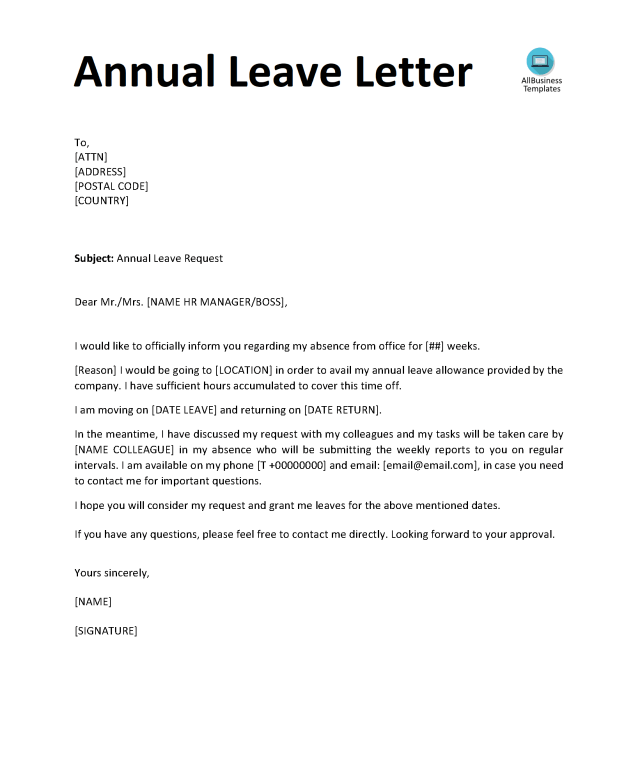 Annual Leave Letter  Templates at allbusinesstemplates.com