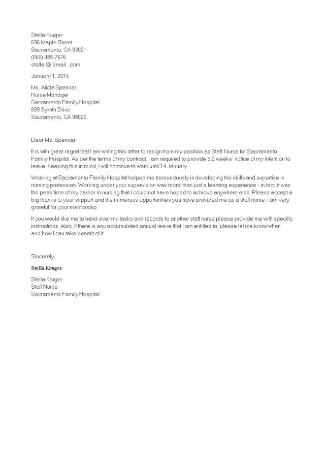 免费Staff Nurse Resignation Letter  样本文件在
