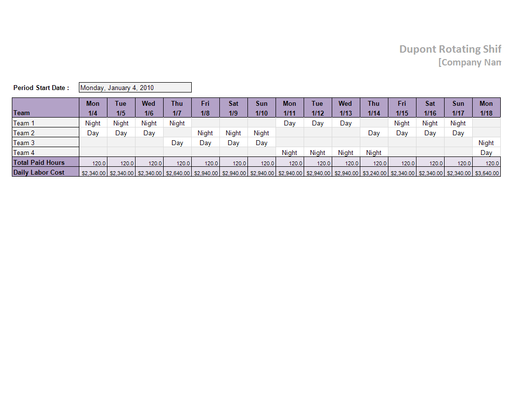 Dupont Schedule Template Worksheet Excel