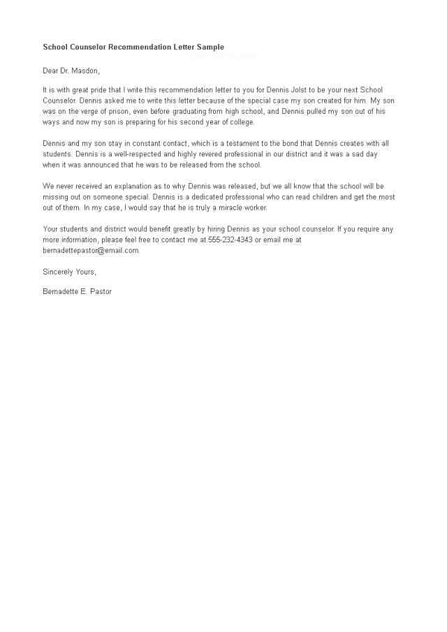 Letter Of Recommendation For A School Counselor Job  Templates
