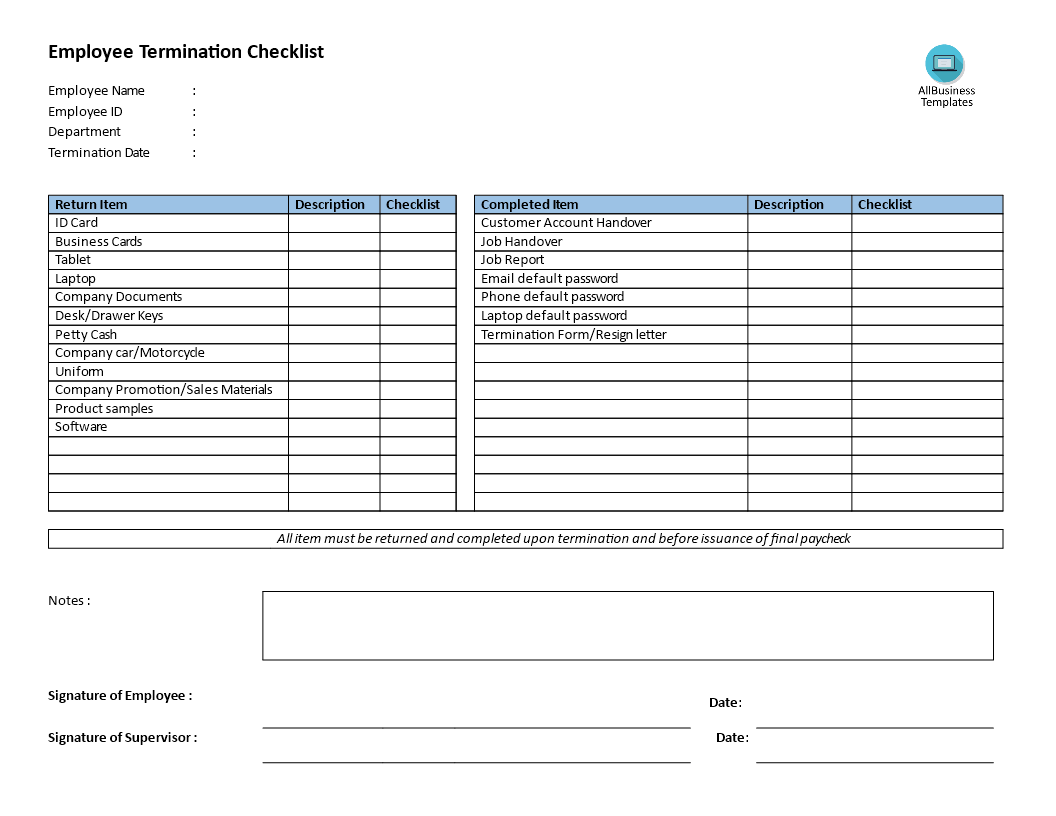 Employee Termination Checklist Main Image Download Template