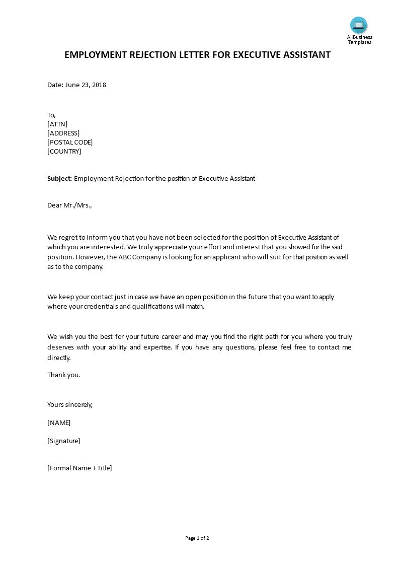 Executive Assistant Employment Rejection Letter | Templates at allbusinesstemplates.com