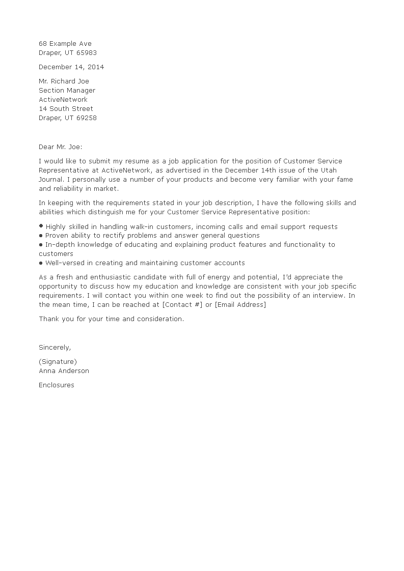 Customer Service Rep Cover Letter (Entry Level)   Templates at allbusinesstemplates.com