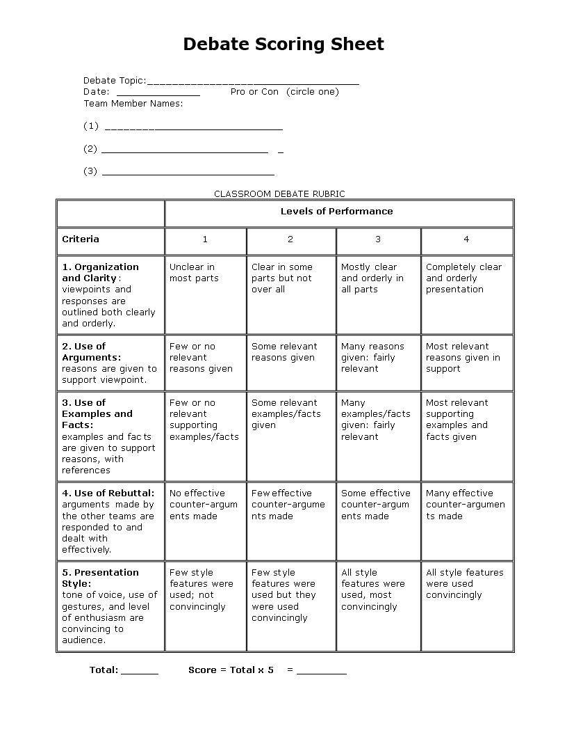 Debate Score Sheet | Templates at allbusinesstemplates.com