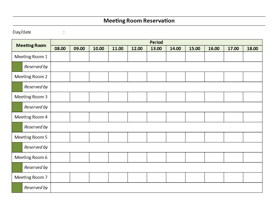 Meeting Rooms Reservation Sheet