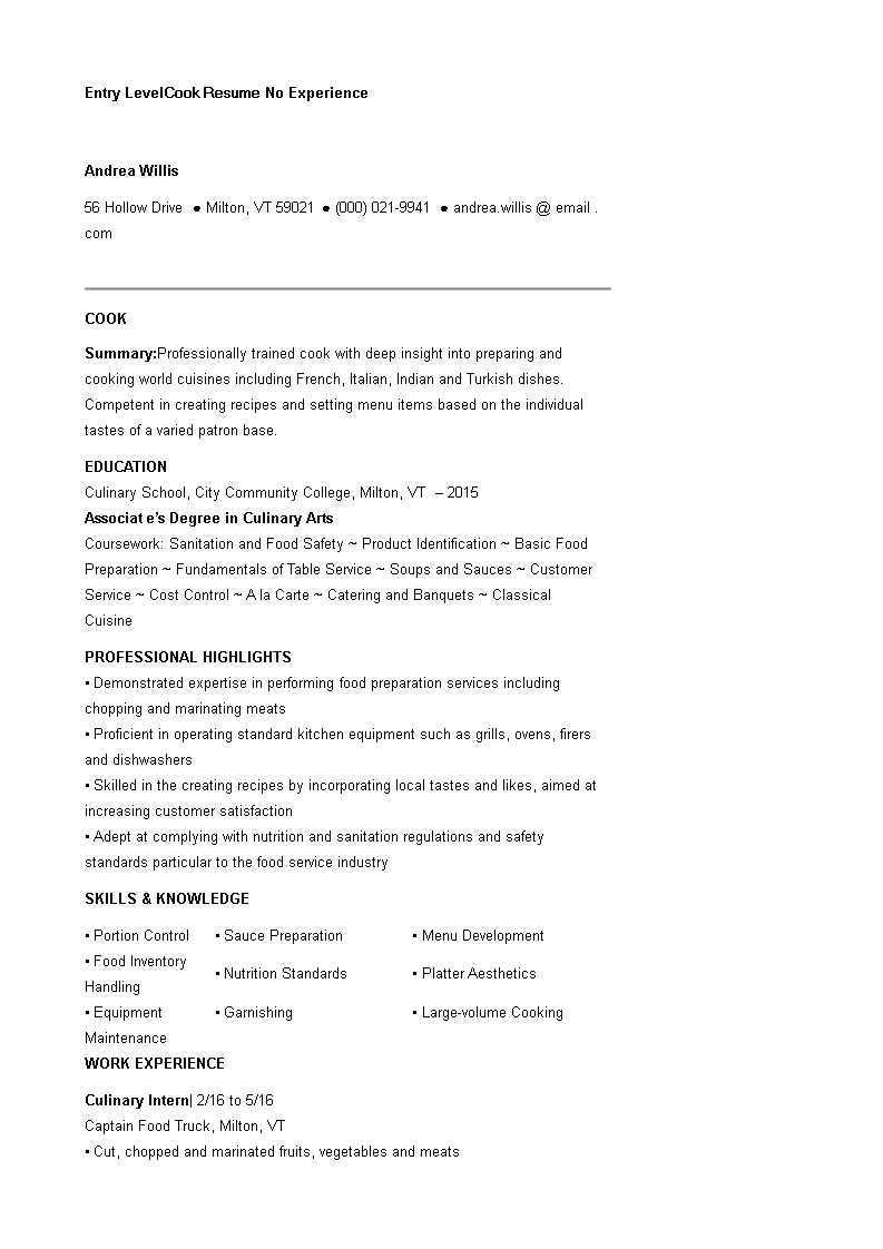 Entry Level Cook Resume No Experience Main Image