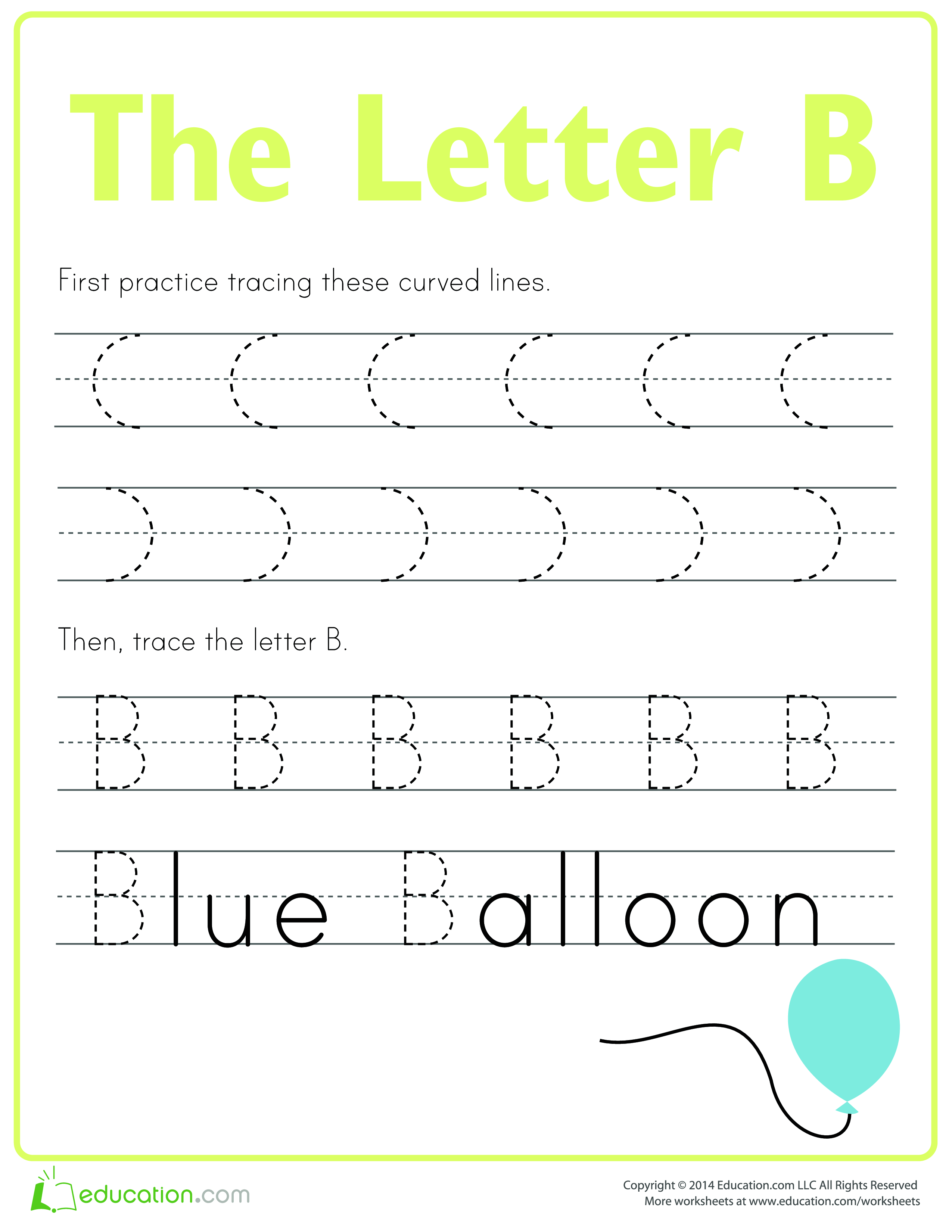 Practice To Write Letter B